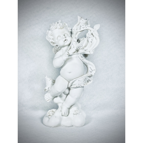 Angyalka nyíllal szobor - fehér