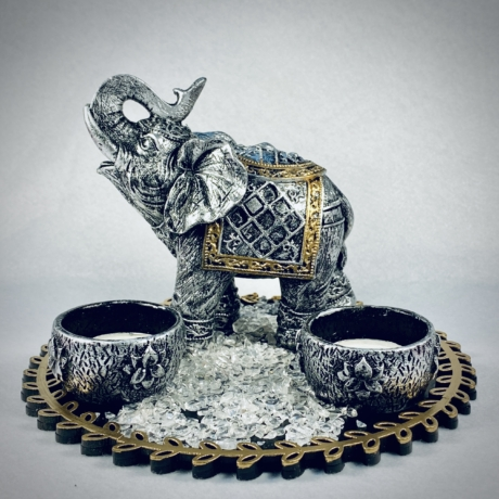 Kőhatású elefántos mécsestál szett Hegyikristály kövekkel