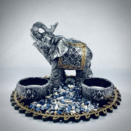 Kőhatású elefántos mécsestál szett Szodalit kövekkel