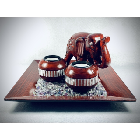 Vörös elefánt mécsestál szett Fluorit kövekkel