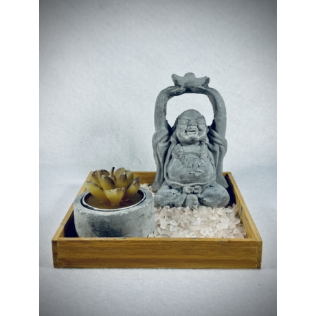 Buddha mécsestál szett Rózsakvarccal
