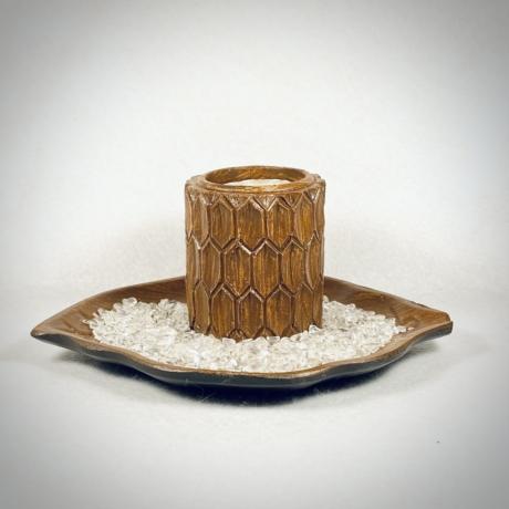 Hegyikristály, levél formájú mécsestartó szettben - natur