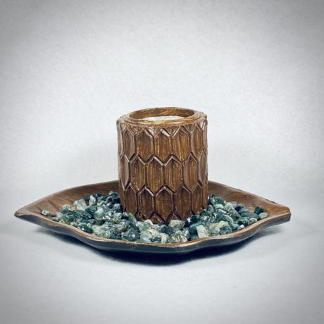 Moha Achát, levél formájú mécsestartó szettben - natur