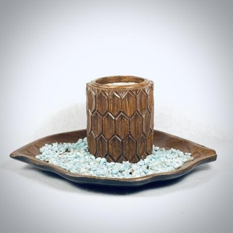 Amazonit, levél formájú mécsestartó szettben - natur